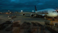 LONDON - Timelapse of Aircraft set up for departure in the airport gate