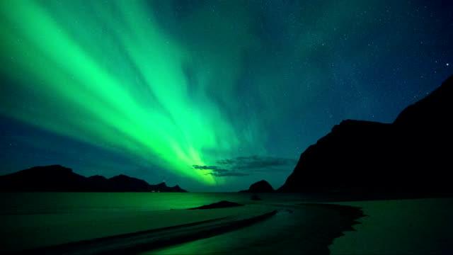 Timelapse of Aurora in Haukland Beach of Lofoten, Norway
