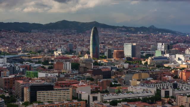 Timelapse of Barcelona Skyline with Torre Agbar, Spain