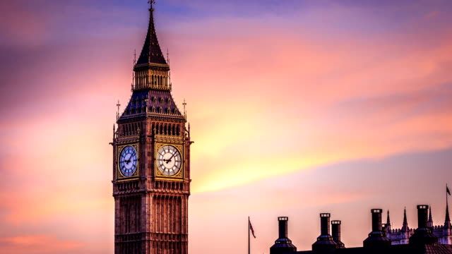 Timelapse of Big Been clock tower in City of London 1080