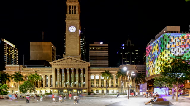 Timelapse of Brisbane (at City Council) during G20 Cultural events, at night with citywide interactive light and projection installations.
