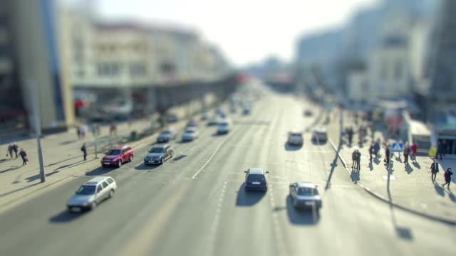 Timelapse of city crossroad traffic