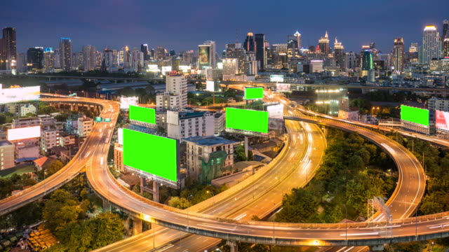 Time-lapse of Cityscape in Bangkok city with chroma key green screen