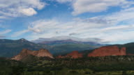 Time-lapse of clouds moving over Pike's Peak on a sunny day from the Garden of the Gods