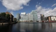 Timelapse of clouds rolling over One Canada Square which houses the European Banking Authority in the Canary Wharf financial business and shopping...