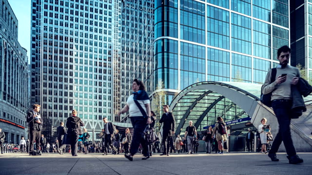 Time-lapse of commuters exiting Canary Wharf Underground Station at rush hour