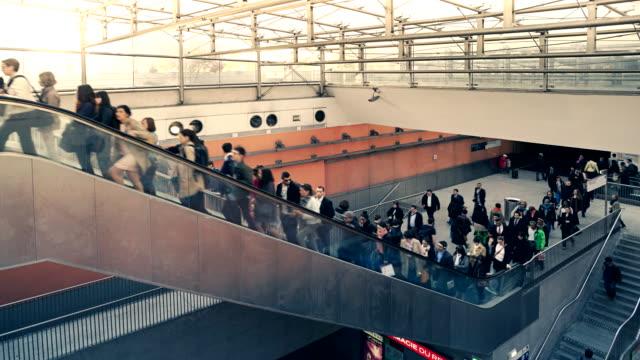 Time-lapse of commuters using the escalators at La Defense metro, Paris, France