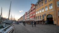 Time-lapse of Copenhagen nyhavn new port of Denmark