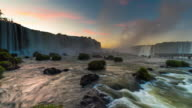 Timelapse of Devils Throat at Sunrise, Iguazu Falls, Brazil