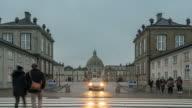 Time-lapse of Frederik's Church at Amalienborg Town square Copenhagen Denmark