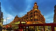 Time-lapse of Harrods department store day to dusk, Knightsbridge, London, UK