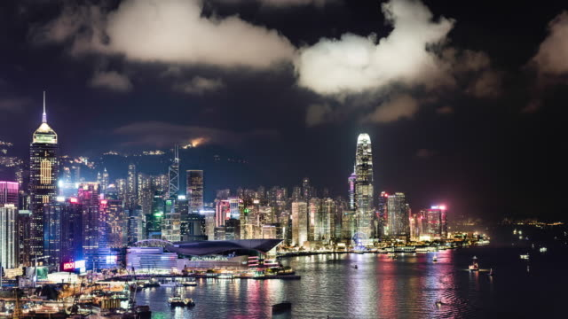 timelapse of Hong Kong skyline and Victoria Bay showing financial district