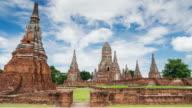Timelapse of landmark old temple wat chaiwatthanaram
