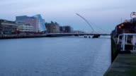 Timelapse of Liffey river in Dublin Ireland fixed camera