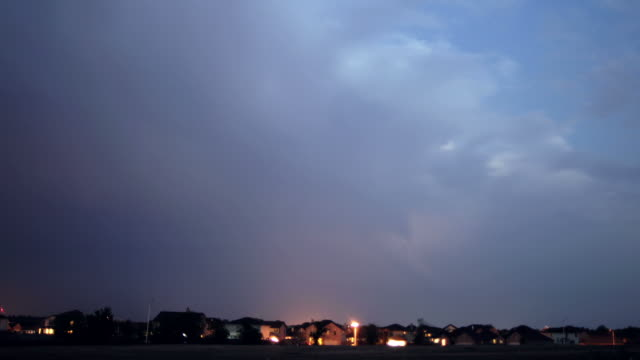 Timelapse of lightning strikes during a storm above a subdivision