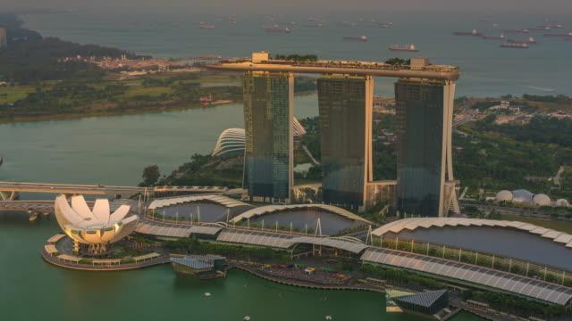 Timelapse of Marina Bay Sands at Nightfall, Singapore
