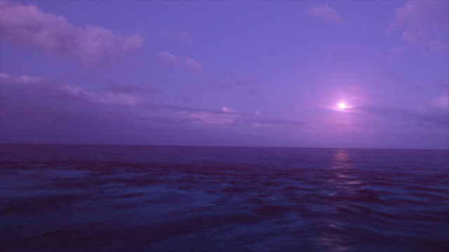 Time-lapse of moon over fast moving sea