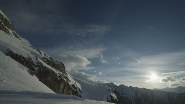 Timelapse of mountain panorama on a sunny winter day.