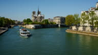Time-lapse of Notre Dame Cathedral and River Seine, Paris.