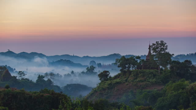 4K Timelapse of Pagoda in Mrauk-U