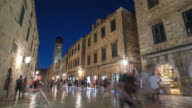 4K Timelapse of people in Dubrovnik on twilight
