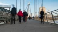 LONDON: TimeLapse of people walking on Embankment bridge