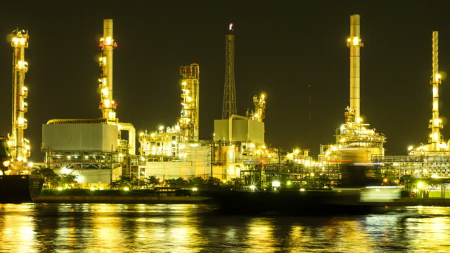 Time-lapse of petrochemical plant at night
