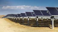 Timelapse of Photovoltaic Solar Farm in Mojave Desert.