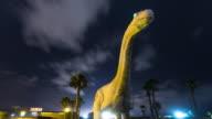 Timelapse of Roadside Dinosaur Landmark at Night, Cabazon.