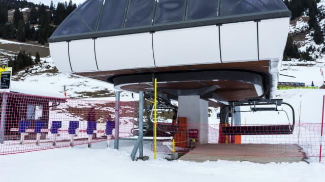 Timelapse of slope and people skiing in Avoriaz