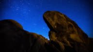 Timelapse of Stars and Moonlight on Rock Formation
