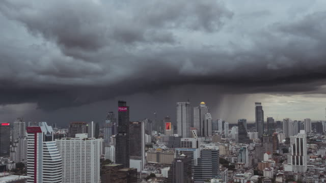 Timelapse of Storm is coming in the city,Bangkok Thailand