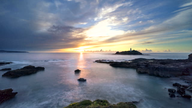 Time-lapse of sunset at Godrevy lighthouse in Cornwal, UK