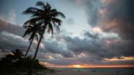 Timelapse of sunset at tropical beach , Varadero Cuba