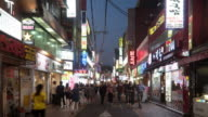 Timelapse of the customers walking in the shopping street, Seoul, South Korea