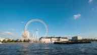 LONDON - TimeLapse of the London Eye and busy Thames