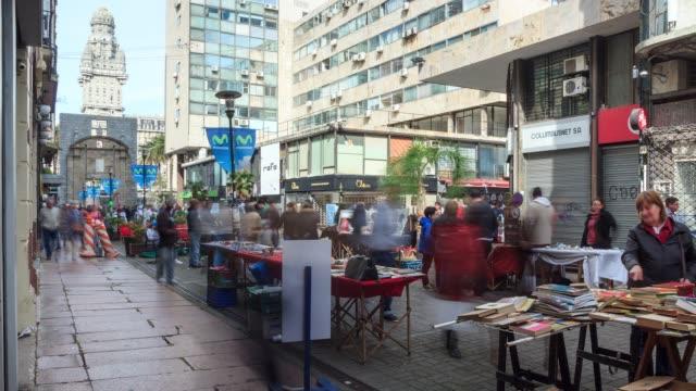 Timelapse of the main pedestrian street of Ciudad Vieja, Montevideo downtown, Uruguay
