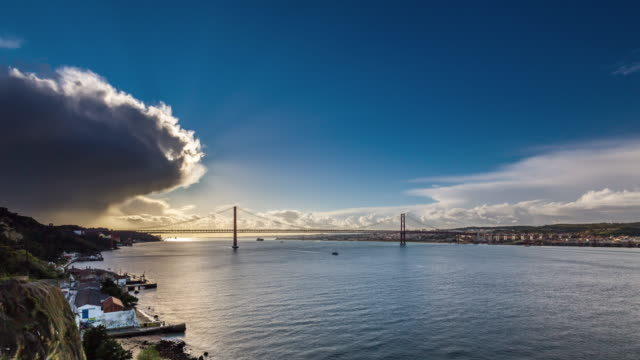 Timelapse of the Sun over the 25th of April Bridge and Lisbon skyline. Portugal. April, 2017