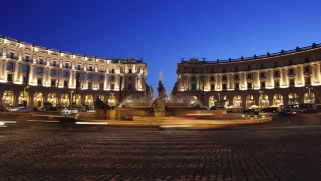 Timelapse of traffic at night around the Piazza della Repubblica in Rome Italy on Friday May 29 2015