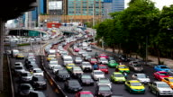 Timelapse of traffic jam on the road at Lat Phrao