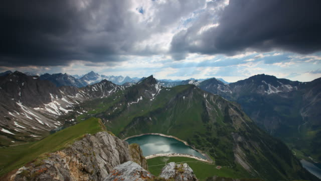 timelapse of upcoming thunderstorm in the alps, tirol, austria