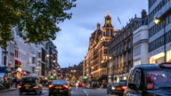 Time-Lapse of view down Brompton Road towards Harrods, London, UK