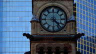 Timelapse of Vintage Clock Tower of Old City Hall in Toronto City
