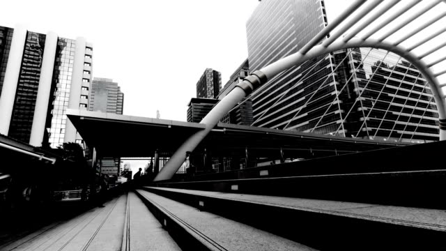 Timelapse of walkway in black&white