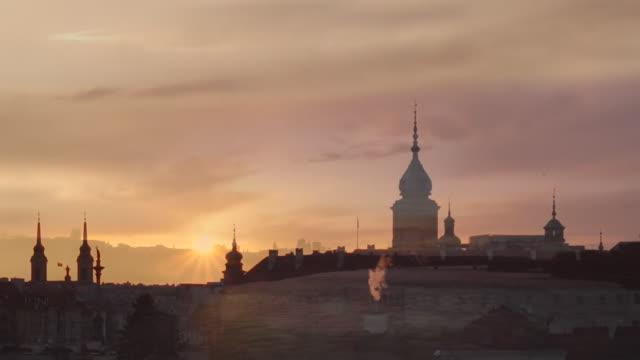 Timelapse of Warsaw Poland at sunset