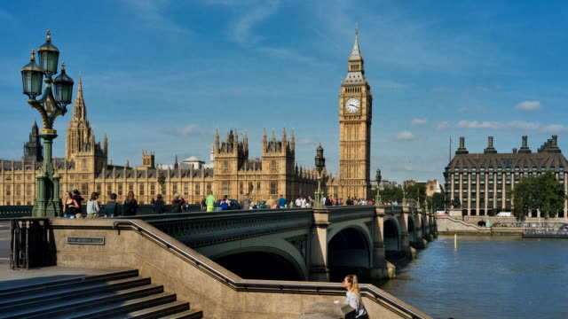 Time-lapse of Westminster bridge and Houses of Parliament, London, UK
