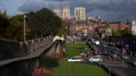 Timelapse of York city walls, Minster and skyline