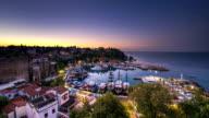 4K. Timelapse - old harbor in Antalya, Turkey at night.