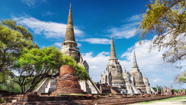 Timelapse old temple in Ayutthaya province