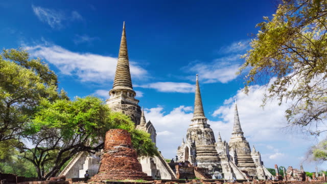 Timelapse old temple in Ayutthaya